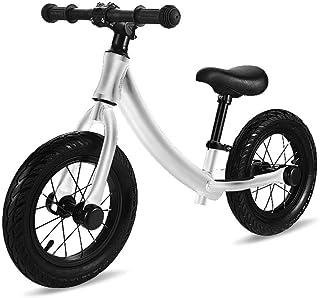 バランスバイクペダルなし自転車 12インチカーボンファイバーフレーム子供カーボン自転車子供バランスバイク用2?6年古い子供カーボンコンプリートバイク用子供 (色 : シルバー しるば゜)