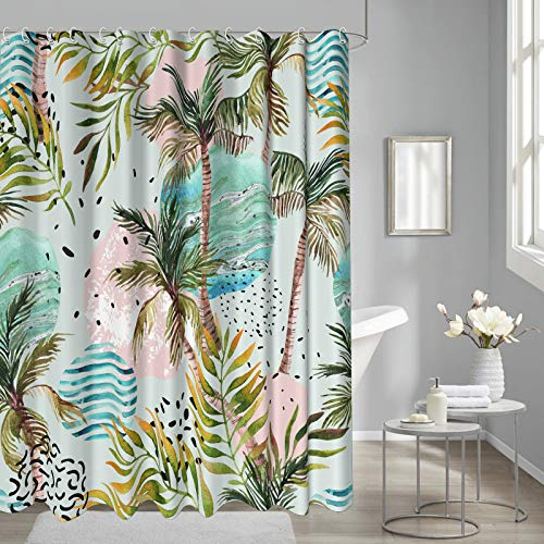 """Tropical Shower Curtains for Bathroom, Summer Palm Tree on Marble Background for Mordern Bathroom Curtains Fabric Waterproof, Green, 72""""x72"""""""