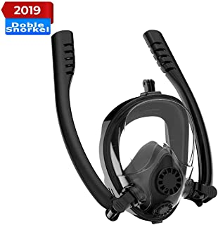 Mascara de Buceo, 2019 Respiración Segura patentada Gafas de Buceo Completa, a Prueba de Agua y Niebla Gafas de Buceo Completa, Máscara de Snorkel panorámica de 180 ° para Adultos y niños …