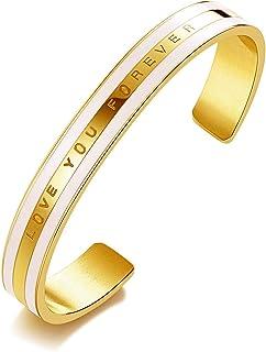 XOYOYZU سوار الكفة للنساء الفتيات المراهقات 14K روز الذهب مطلي الفولاذ المقاوم للصدأ أساور مجوهرات لعيد الميلاد
