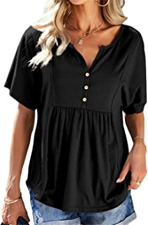 Womens Short Sleeve Henley T-Shirt Casual Front Button...