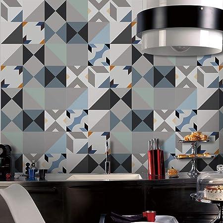 Jy Art Stickers Carrelage Sol Bleu Et Blanc Gris 12 Pieces Carreaux De Ciment Adhesif Mural Cuisine Salle De Bains 15x15 Amazon Fr Cuisine Maison