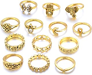 13pcs Retro Rings Hollow Carved Flowers Joint Knuckle Rings Sets