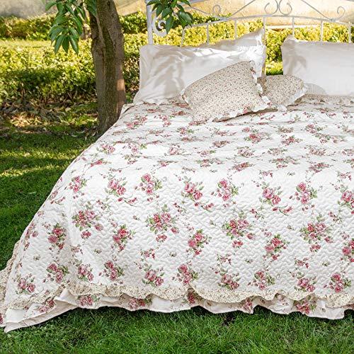 AT17 Tagesdecke Gesteppt, Decke Boutis Doppelbett Bettüberwurf Doubleface Landhaus Shabby Chic - Rüschen - 260x260 - Weiß/Rosa