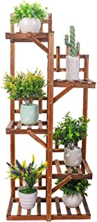 Outdoor Wooden Plant Ladder Stand,6-Tiered Plant Stand Flower Rack Indoor Ladder Shelf Plants Display Stand for Potted Pla...