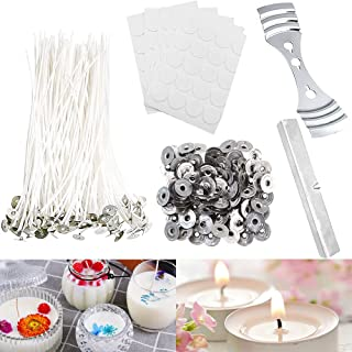 100 Pcs Candle Wicks, 8 Inches Low Smoke Pre-Waxed Cotton Wick with 2 Pcs Wick Holder, for Making Birthday Party Festival ...