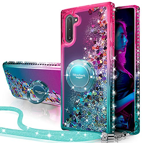 Silverback Galaxy Note 10 Case, Moving Liquid Holographic Sparkle Glitter Case with Kickstand, Bling Diamond Rhinestone Bumper W/Ring Slim Samsung Galaxy Note 10 Case for Girls Women -Green