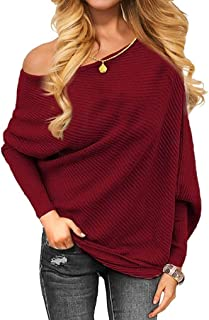 0453d6579d64ab Women Sweater TUDUZ Women Off Shoulder Knitted Jumper Pullover Tops Sexy  Loose Batwing Long Sleeve Sweater