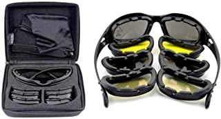 Mangocore New Polarized Army Goggles, Military Sunglasses 4 Lens Kit, Men's War Game Tactical Glasses Outdoor Sports Set of 9 (BLACK)
