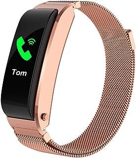 WUHUAROU Pulsera Inteligente 2 en 1 con Auriculares Bluetooth, Reloj Inteligente para la Salud del Ritmo cardíaco, Pulsera de la Aptitud del Auricular Bluetooth (Color : Gold)