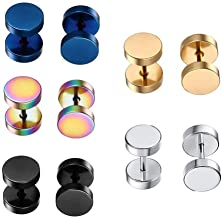 Dot Earrings, High Polished Surgical Steel Screw Flat Back 8MM Disc Stud Earrings for Women Men Pack of 5 Pairs(3MM/5MM/8MM Option)