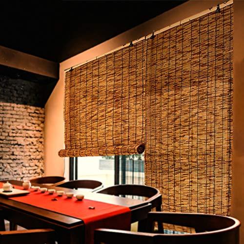 NIANXINN Enrouleur Bambou Naturel - Rideau de Roseau,Volets de Stores Romains,Rideau Occultant avec Bloc UV à 70% pour Balcon/Pergola,Store en Bambou avec Crochets,Personnalisable (80x140cm/32x55in)