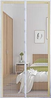 Qemsele Cortina Mosquitera Puertas, mosquito puerta, 90 x 210cm Cierre Magnético Automático Que Evita el Paso de Insectos con Imanes Cinta Marco para sala de estar balcón(90 x 210 cm, Blanco)