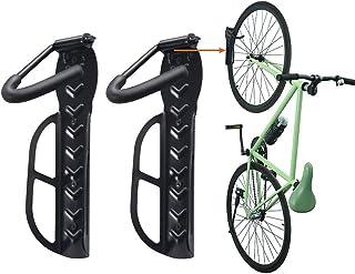 Horizontal Bike Wall Mount Rack Storage for Garage Helmet Holder Shelf Indoor Pack of 2 Black