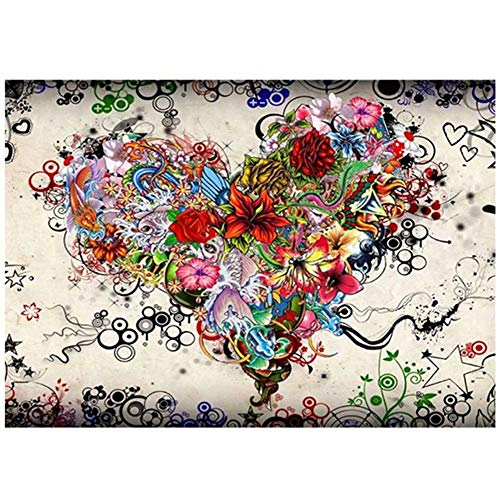 Diy Oil Painting by Numbers,Love Flower Heart Art PBN Kit for Adults Girls Kids Christmas 16X20Inch [Wooden Frame]