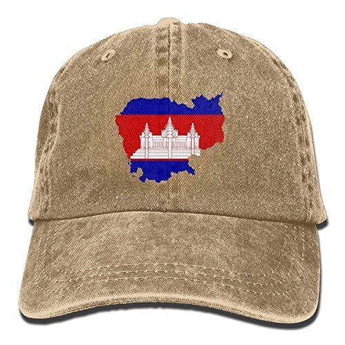 Preisvergleich Produktbild Short caps Men&Women Cambodia Flag Adjustable Vintage Washed Denim Cotton Dad Hat Baseball Hats