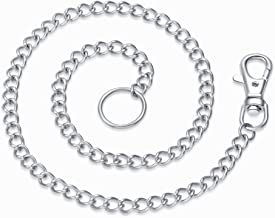 Hoyoo Jewelry 316L Stainless Steel Silver Tone Chain O Ring Necklace Choker for Women Men Long Curb Chain Rapper Necklace 21-30 inches