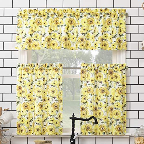 "No. 918 Sunbeam Sunflower Print Semi-Sheer Rod Pocket Kitchen Curtain Valance and Tiers Set, 54"" x 24"" 3-Piece, Yellow"