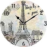 tuobaysj Reloj de Pared Art Paris Tower Reloj de Pared Redondo Placa Circular Relojes silenciosos Que no Hacen tictac para Cocina Oficina en casa Decoración Escolar Niños Niños Niñas