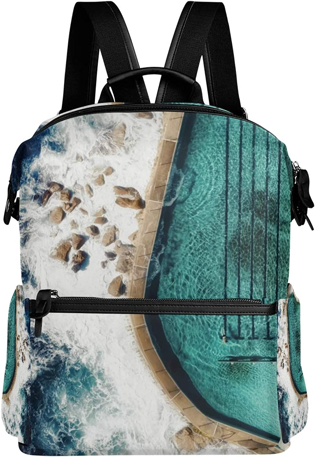 MONTOJ Amazing Ocean Pool Leather Travel Bag Campus Backpack