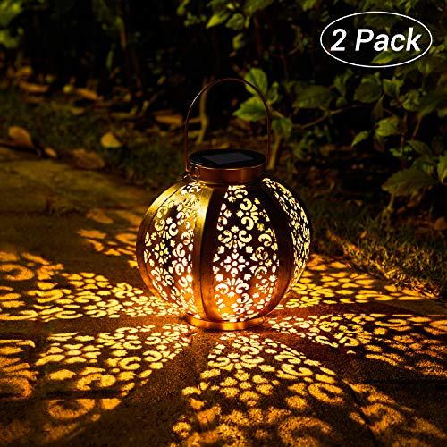 Solar Laterne für Außen,OxyLED 2 Stück IP44 Wasserdicht Dekorativ Solar Gartenleuchte,Solarlampe Outdoor Dekorationen für Weg Garten Patio Terrasse und Hof Weihnachten(Warmweiß)