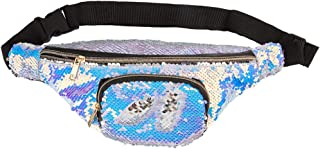 ICOSY Unisex Mermaid Sequin Waist Pack Fanny Bag Sport Bag Outdoor Travel Crossbody Bags(14x6)