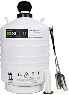 U.S.SOLID 30L Cryogenic Container Liquid Nitrogen LN2 Tank Dewar with Straps 6 Canisters