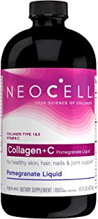 NeoCell Collagen +C Pomegranate Liquid, 4g Collagen Types 1 & 3 Plus Vitamin C, Healthy Skin, Hair, Nails and Joint Suppor...