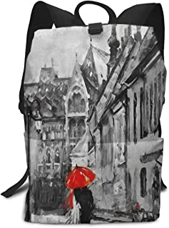 Backpack Oil Painting City Red Tree Customized Shoulders Bag Classic Lightweight Daypack for Adults