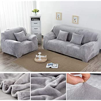Wowtoy Sofa Cover 1 2 3 4 Seater Slip Cover Sofa Couch Stretch Elastic Fabric Sofa Protector 3 Seater Grey Amazon Co Uk Kitchen Home