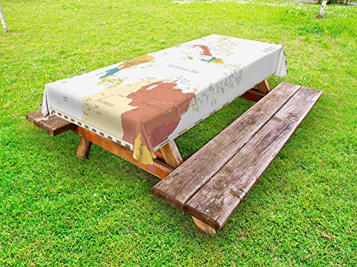 Ambesonne Vintage Cartography Outdoor Tablecloth, Retro Map Americas Carribean Sea, Decorative Washable Picnic Table Cloth, 58' X 84', Eggshell Multicolor