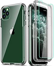 COOLQO Compatible with iPhone 11 Pro Max Case, and [2 x Tempered Glass Screen Protector] Clear 360 Full Body Coverage Hard...