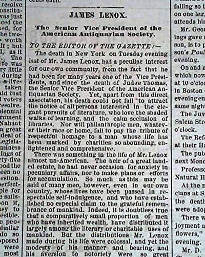 JAMES LENOX American Bibliophilia 1880 Ol Philanthropist Selling DEATH Manufacturer OFFicial shop
