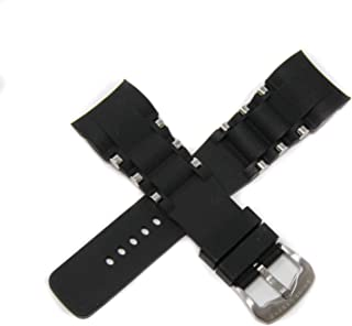 Swiss Legend 26MM Black Silicone Rubber Watch Strap Stainless Silver Buckle fits 47mm Commander Pro Watch