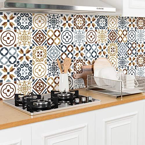 Ambiance Sticker Adesivi Piastrelle Adesive - Adesivo Piastrelle di Cemento - Decorazione Murale Adesivi Tessere per Bagno e Cucina - Piastrelle di Cemento Adesivo da Parete - 20 x 20 cm - 30 Pezzi