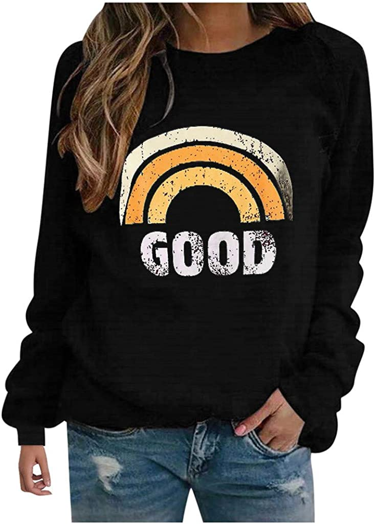Masbird Womens Casual Crew Neck Long Sleeve Sweatshirts Graphic Print Pullover Tops Plus Size Loose Fit Tee Shirts