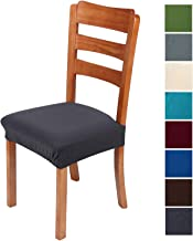 smiry Stretch Jacquard Chair Seat Covers for Dining Room, Removable Washable Anti-Dust Chair Seat Protector Slipcovers - Set of 4, Dark Grey