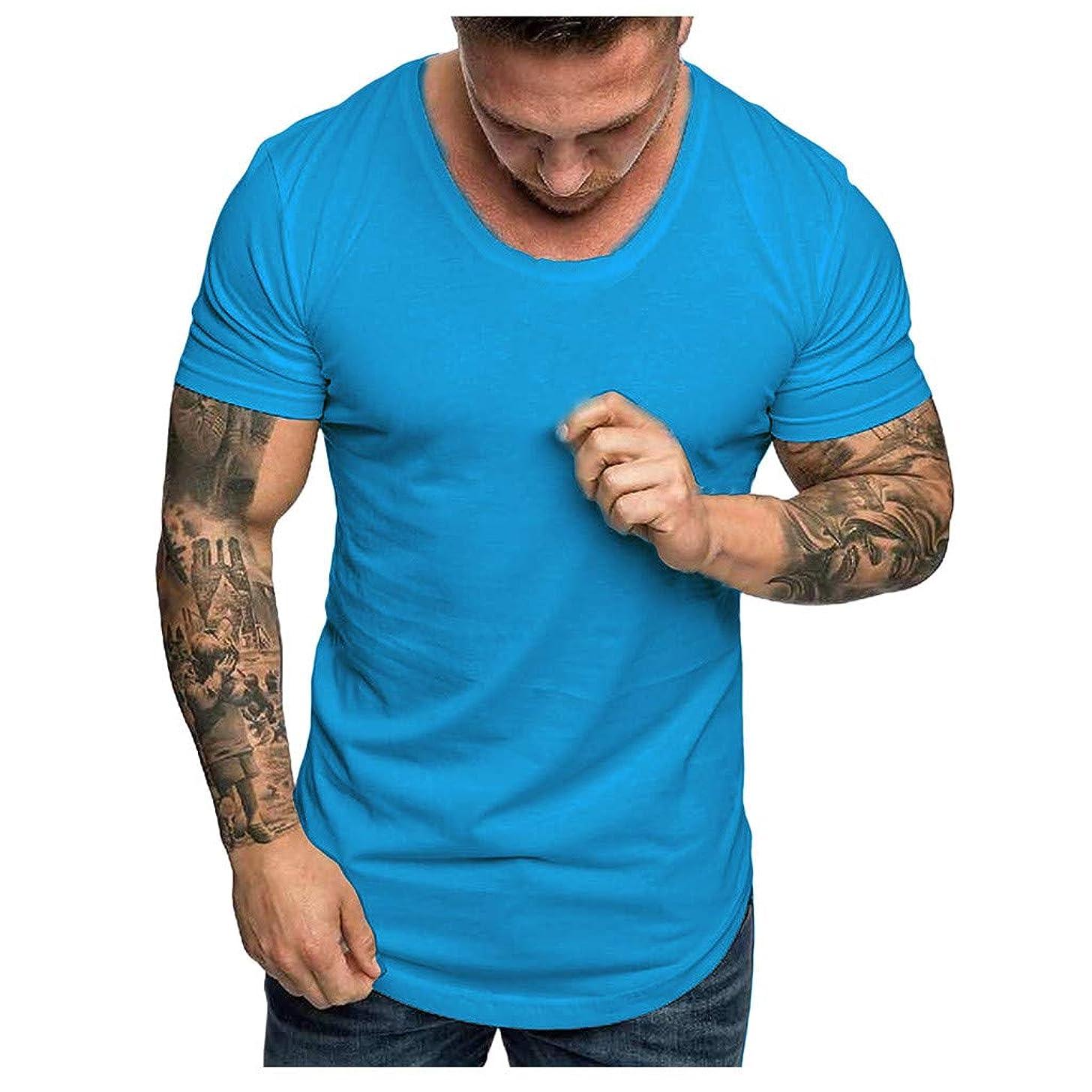 Men's T Shirts Nuewofally Baseliner Heavyweight Cotton T-Shirt Tech Short Sleeve Solid Color Blouse Top (Sky Blue,XL)