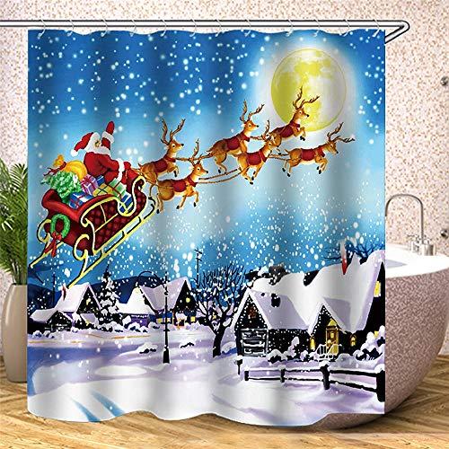 OUY Duschvorhänge Durable wasserdicht Duschvorhang Weihnachtsmann-Ren-Muster Duschvorhang (Color : White, Size : 180X180cm)