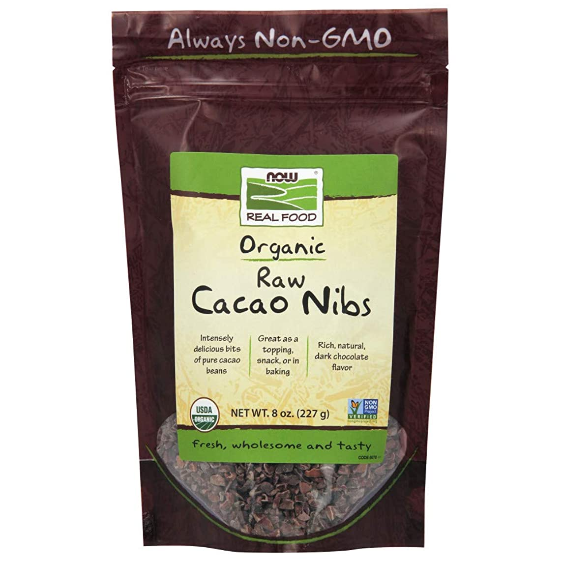 NOW Foods, Organic Raw Cacao Nibs, Rich, Pure Cacao Bean Bits, Dark Chocolate Flavor, Certified Non-GMO 8-Ounce