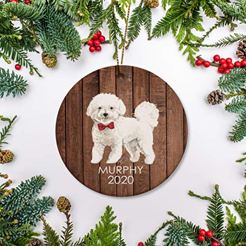 McC538arthy Bichon Frise On Wood Christmas Ornament Personalized Dog Ornament Bison Frise for Dog Lover Puppy 1St Christmas