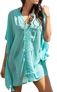 LaSculpte Women's Lace Chiffon Tunic Kaftan Swimsuit Cover up Beach Dress, S-XL