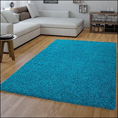 Alfombra de pelo largo, moderno diseño monocromático, color turquesa, polipropileno, turquesa, 160 x 220 cm