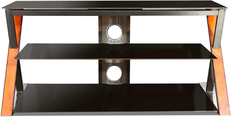 Savanah Ridge AZXTG4822 48-Inch Watford Wide Wood Metal and Glass TV Base (Walnut Black)