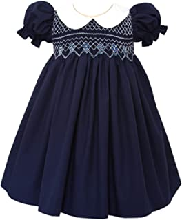 Beautiful Bliss Classic Hand Smocked Navy Christmas Girls Dress