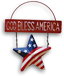Patriotic God Bless America Metal Hanging Sign - 8.75 inches x 10.75 inches (Red)