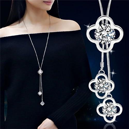 Elistelle XBY.mi Halskette Kette Damen Silber Mit Anhänger Blumen Muster Lang Ketten