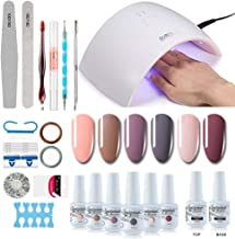 Gel Nail Polish Starter Kit - 6 Colors Gel Polish Set Base Top Coat, 36W LED Nail Dryer Lamp with Full DIY Gel Manicure Nail Tools by Vishine 8ml #12