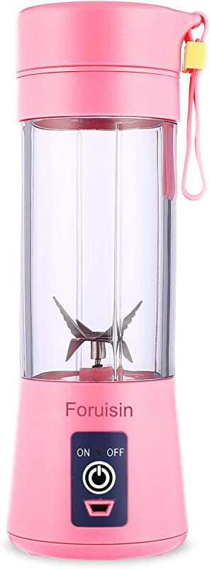 Foruisin Portable Personal Blender Household Juicer Fruit Shake Mixer Six Blades 380ml Baby Cooking Machine With USB Charger Cable Pink