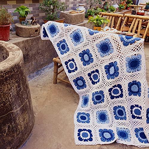 Crochet Manta de Porcelana Azul y BlancaSofá Manta Mesas Cubierta hogar y Regalo Vivo, 80x60cm